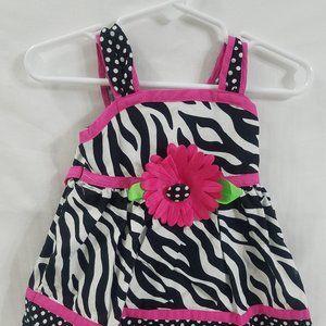 🌷 Pink & Black Sunflower Infant Girls Dress